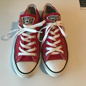 Converse red all star low cut sneakers